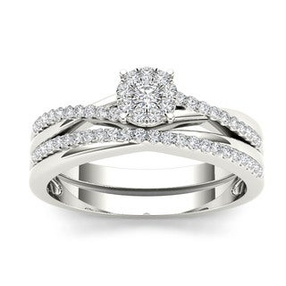 De Couer 10k White Gold 1/4ct TDW Diamond Cluster Engagement Ring Set (H-I, I2)