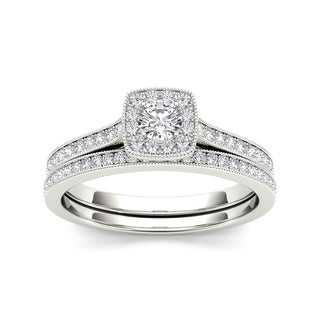 De Couer 10k White Gold 1/2ct TDW Diamond Solitaire Bridal Set (H-I, I2)