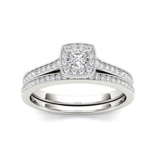De Couer 10k White Gold 1/2ct TDW Diamond Solitaire Bridal Set (H-I, I2) with Bonus Necklace