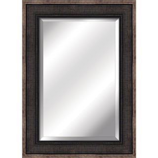 Yosemite Home Decor Corrugated Bronze Frame and Beveled Mirror