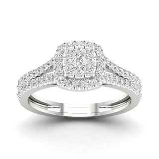 De Couer 10k White Gold 5/8ct TDW Diamond Double Halo Engagement Ring (H-I, I2)