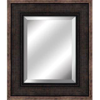 Yosemite Home Decor Corrugated Bronze Beveled Frame Mirror
