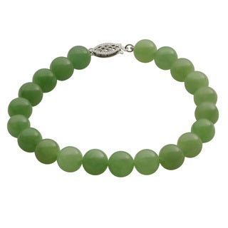 Gems For You Sterling Silver Jade Beaded Bracelet