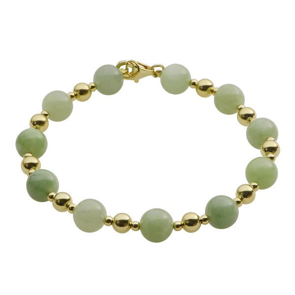 Gems For You Jade and Gold Over Silver Beaded Bracelet