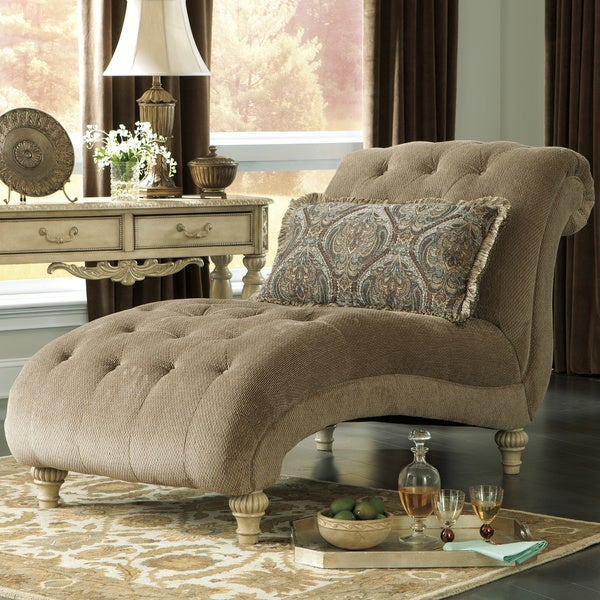 Signature design by ashley parkington bay platinum chaise for Abbyson living soho cream fabric chaise