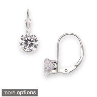 14k White Gold 6mm Cubic Zirconia Leverback Dangle Earrings