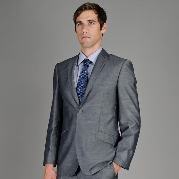 Giorgio Fiorelli Men's Slim-fit 38 S/ 32 W Grey Sharkskin 2-button Suit (As Is Item)