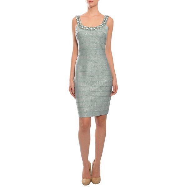 Carmen Marc Valvo Women's Extra-large Stretch Fit Verdigris Rhinestone Bandage Evening Dress (As Is Item)