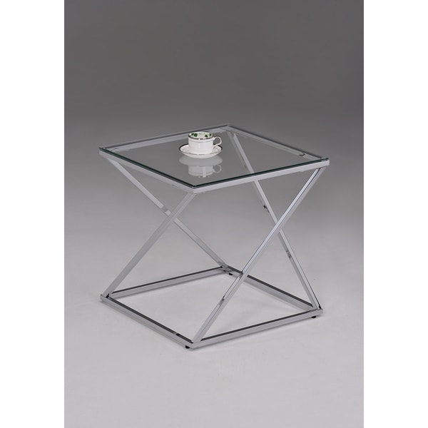 Contemporary Chrome Metal Glass Square End Table