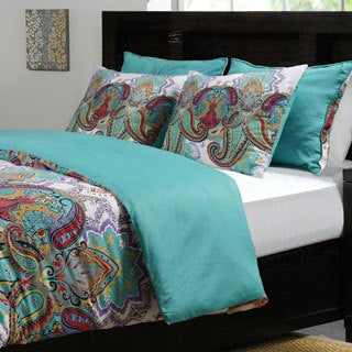 Nirvana Button Closure Cotton 3-piece Duvet Cover Set