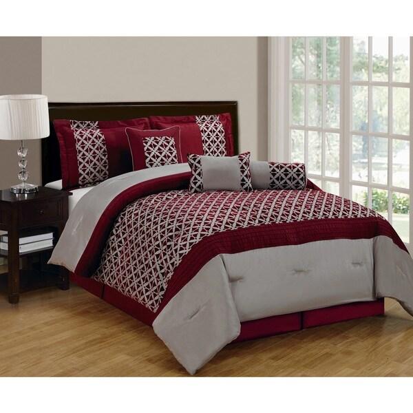 Bradley Burgundy/Taupe 7-piece Comforter Set