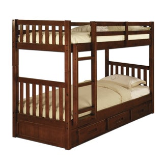 Twin-over-Twin 3-drawer Merlot Bunk Bed