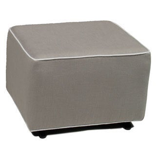 Little Castle's Countess Pebble Grey Ottoman with White Piping