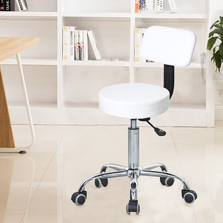 Adeco White Faux Leather Barstool