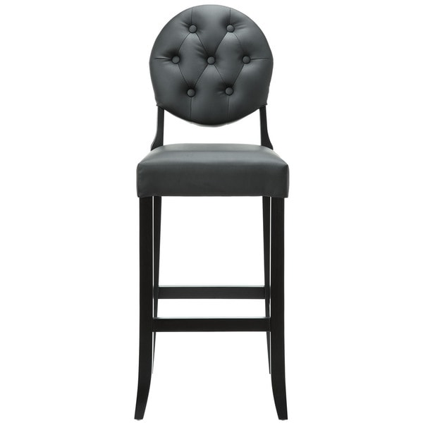 Buttoned Black Vinyl Bar Stool
