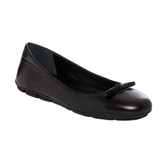 Prada Women's Black Leather Bow Ballet Flats