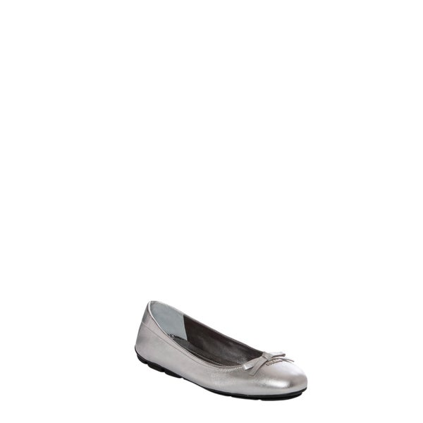 Prada Women's Silver Leather Bow Ballet Flats