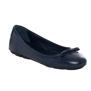 Prada Women's Royal Blue Leather Bow Ballet Flats