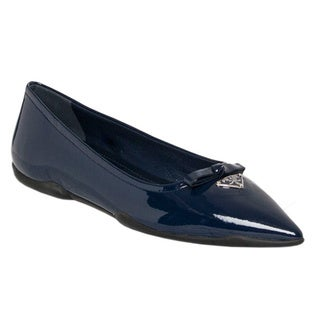 Prada Women's Blue Patent Leather Pointy Toe Flats