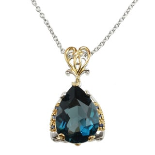 Michael Valitutti Two-tone London Blue Topaz and Blue Sapphire Necklace