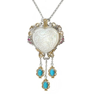 Michael Valitutti Two-tone Carved Mother of Pearl, Sleeping Beauty Turquoise and Pink Sapphire Necklace