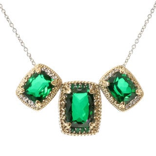 Michael Valitutti Two-tone Quartz Doublet and Emerald Necklace
