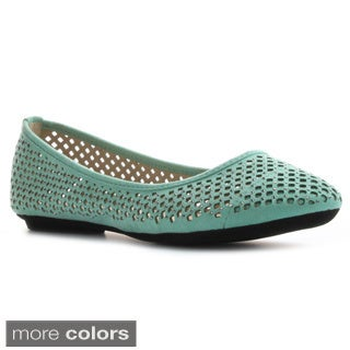 DbDk Women's 'Azura-2' Studded Laser Cut-out Ballet Flats