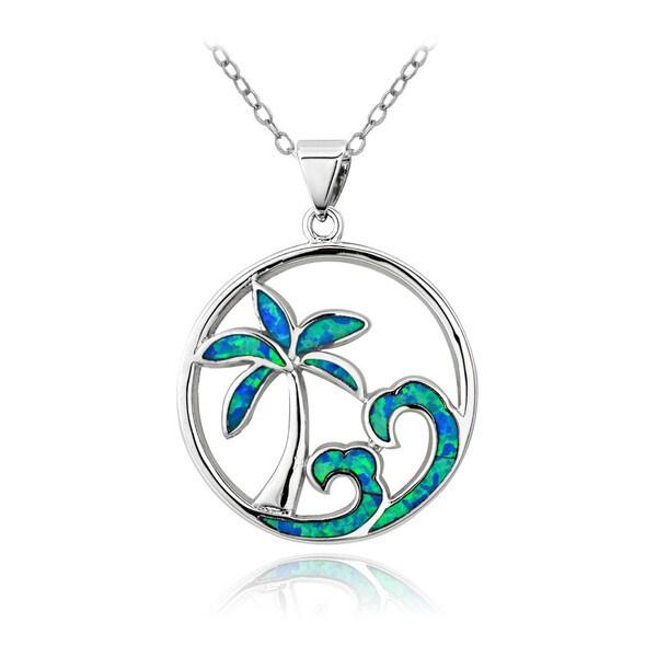 Glitzy Rocks Silvertone Created Blue Opal Palm Tree and Wave Necklace