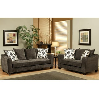 Furniture of America Dorianne 2-Piece Grey Micro-Suede Loveseat and Sofa Set