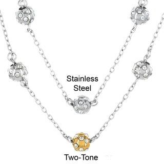 ELYA Stainless Steel and Cubic Zirconia 3 Sphere Necklace