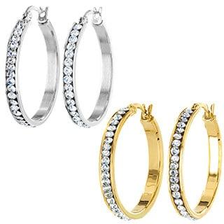 ELYA Stainless Steel Cubic Zirconia 30mm Hoop Earrings