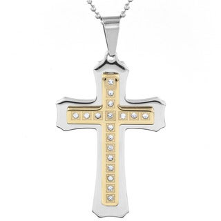 Goldplated Stainless Steel Men's and Cubic Zirconia Layered Flared Cross Pendant