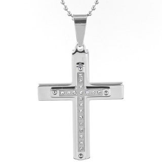 Stainless Steel Men's and Cubic Zirconia Layered Cross Pendant Necklace