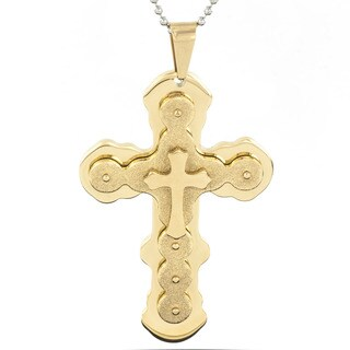 Men's Goldtone Stainless Steel Layered Textured Pendant Necklace