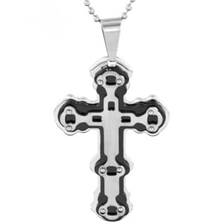 Stainless Steel Men's Black-plated Triple Layer Studded Cross Pendant Necklace