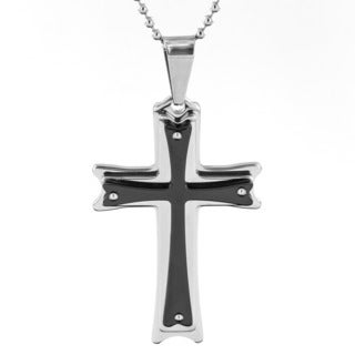 Stainless Steel Men's and Black-plated Layered Cross Pendant