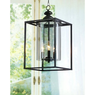 La Pedriza Antique Bronze 3-light Glass and Metal Chandelier