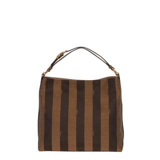 Fendi Small Pequin Striped Hobo Bag