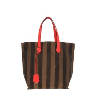 Fendi 'All In' Pequin Striped Orange Trim Shopper Tote