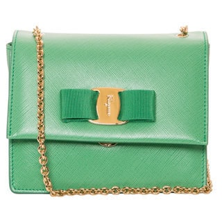 Salvatore Ferragamo 'Vara' Mini Green Leather Flap Bag