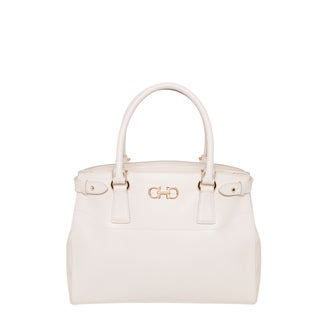 Salvatore Ferragamo 'Gancio' Medium Off-white Saffiano Leather Tote