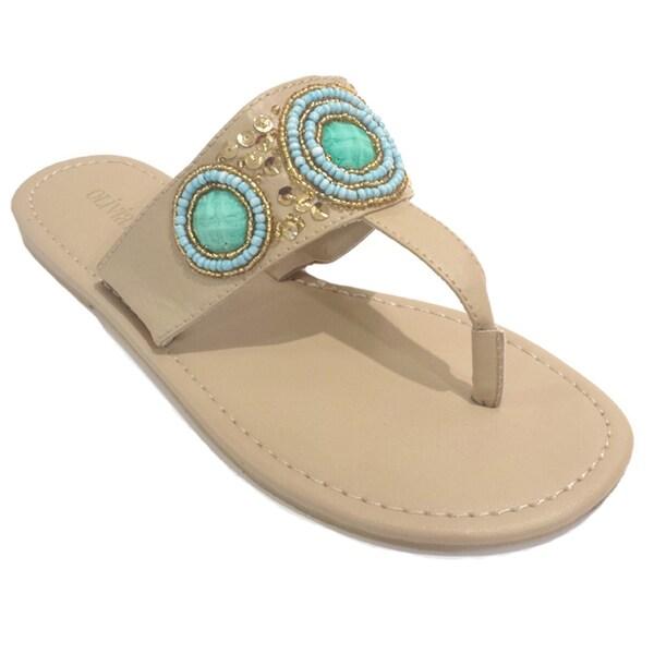 Olivia Miller Women's Beaded Instep Strap Sandals