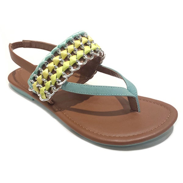Olivia Miller Women's Ribbon-wrapped Chain Sandals