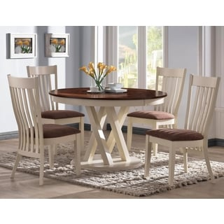 Aspen Buttermilk Slat Back 5-piece Round Dining Set