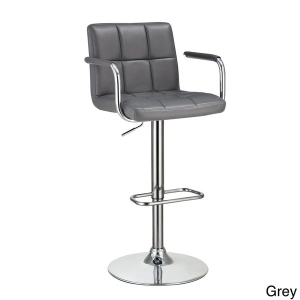 Flash Faux Leather Adjustable Bar Stool with Arms