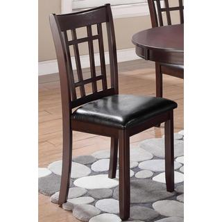 Splendor Espresso and Black Leather Dining Chairs (Set of 2)