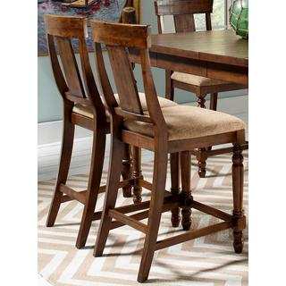 Liatris Rustic Cocoa Brown and Microfiber Counter Height Dining Stools (Set of 2)