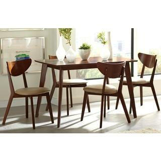 Peony Retro Walnut and Leatherette 5-piece Dining Set
