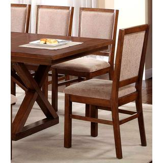 Sisely Distressed Walnut and Microfiber Dining Chairs (Set of 2)