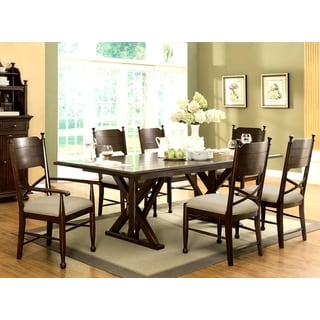 Anne France Brown Cherry Finish 7-piece Dining Set